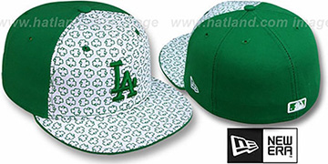 Dodgers ST PATS FLOCKING PINWHEEL White-Kelly Fitted Hat by New Era