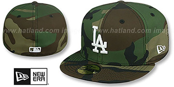 Dodgers TEAM-BASIC Army Camo-White Fitted Hat by New Era