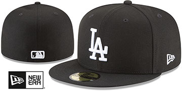 Dodgers 'TEAM BASIC' Black-White Fitted Hat by New Era