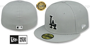 Dodgers 'TEAM-BASIC' Grey-Black-White Fitted Hat by New Era