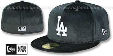 Dodgers 'TEAM-BASIC VELOUR' Black Fitted Hat by New Era