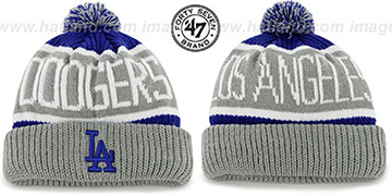 Dodgers 'THE-CALGARY' Grey-Royal Knit Beanie Hat by Twins 47 Brand