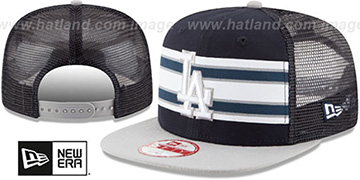 Dodgers 'THROWBACK-STRIPE SNAPBACK' Navy-Grey Hat by New Era