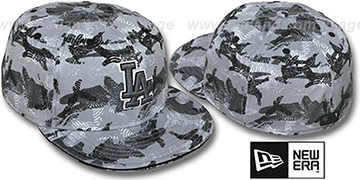 Dodgers 'THUMBPRINT' Grey Fitted Hat by New Era
