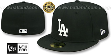 Dodgers WHITE METAL-BADGE Black Fitted Hat by New Era