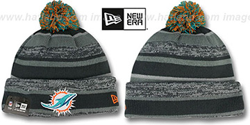 Dolphins  '2014 STADIUM' Grey-Grey Knit Beanie Hat by New Era