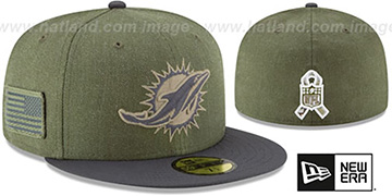 Dolphins 2018 SALUTE-TO-SERVICE Olive-Grey Fitted Hat by New Era