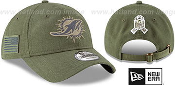 Dolphins 2018 SALUTE-TO-SERVICE STRAPBACK Olive Hat by New Era