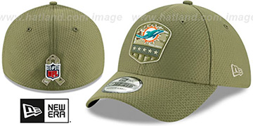 Dolphins '2019 SALUTE-TO-SERVICE FLEX' Olive Hat by New Era