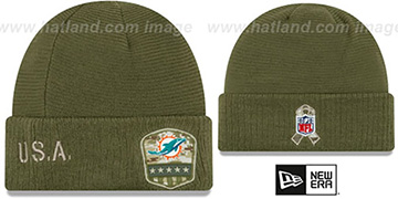 Dolphins 2019 SALUTE-TO-SERVICE Knit Beanie Hat by New Era