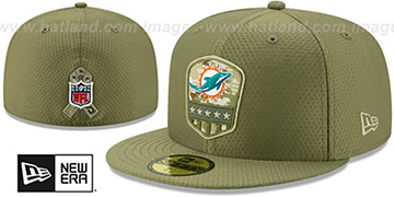 Dolphins 2019 SALUTE-TO-SERVICE Olive Fitted Hat by New Era