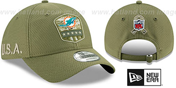 Dolphins 2019 SALUTE-TO-SERVICE STRAPBACK Olive Hat by New Era