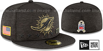 Dolphins 2020 SALUTE-TO-SERVICE ST Black Fitted Hat by New Era