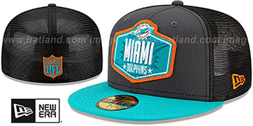 Dolphins 2021 NFL TRUCKER DRAFT Fitted Hat by New Era