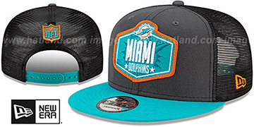 Dolphins 2021 NFL TRUCKER DRAFT SNAPBACK Hat by New Era