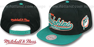 Dolphins '2T TAILSWEEPER SNAPBACK' Black-Aqua Hat by Mitchell & Ness