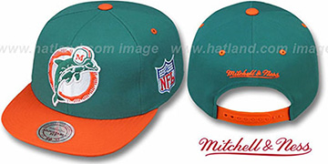 Dolphins '2T XL-LOGO SNAPBACK' Teal-Orange Adjustable Hat by Mitchell and Ness