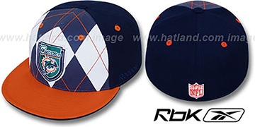 Dolphins 'ARGYLE-SHIELD' Navy-Orange Fitted Hat by Reebok