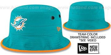 Dolphins BASIC-ACTION Aqua Bucket Hat by New Era