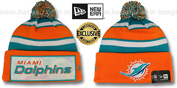 Dolphins BIG-SCREEN Knit Beanie Hat by New Era