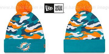 Dolphins CAMO CAPTIVATE Knit Beanie Hat by New Era