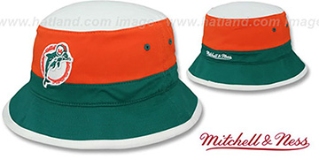 Dolphins 'COLOR-BLOCK BUCKET' White-Orange-Aqua Hat by Mitchell and Ness