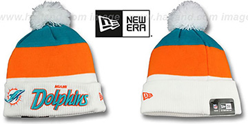 Dolphins 'CUFF-SCRIPTER' White-Orange-Aqua Knit Beanie Hat by New Era