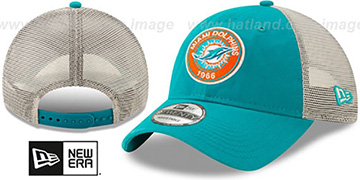 Dolphins ESTABLISHED CIRCLE TRUCKER SNAPBACK Hat by New Era
