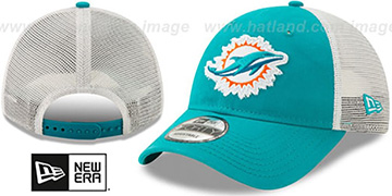 Dolphins FRAYED LOGO TRUCKER SNAPBACK Hat by New Era