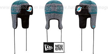 Dolphins 'FROSTWORK TRAPPER' Aqua Knit Hat by New Era