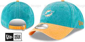 Dolphins 'GW RUGGED CANVAS STRAPBACK' Aqua-Orange Hat by New Era