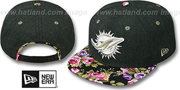 Dolphins HEATHER BLOOM SNAPBACK Charcoal-Black Hat by New Era