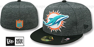 Dolphins HEATHER-HUGE Grey-Black Fitted Hat by New Era