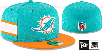 Dolphins HOME ONFIELD STADIUM Aqua-Orange Fitted Hat by New Era
