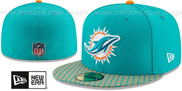 Dolphins 'HONEYCOMB STADIUM' Aqua Fitted Hat by New Era