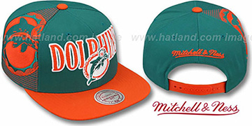 Dolphins 'LASER-STITCH SNAPBACK' Aqua-Orange Hat by Mitchell & Ness
