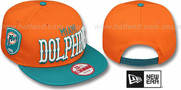 Dolphins 'NFL ENGLISH-WORD SNAPBACK' Orange-Aqua Hat by New Era