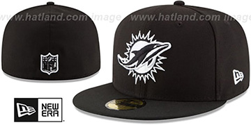 Dolphins NFL TEAM-BASIC Black-White Fitted Hat by New Era