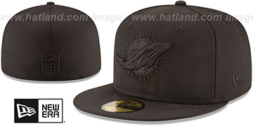 Dolphins NFL TEAM-BASIC BLACKOUT Fitted Hat by New Era