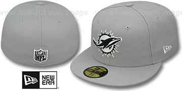 Dolphins 'NFL TEAM-BASIC' Grey-Black-White Fitted Hat by New Era