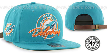 Dolphins 'NFL VIRAPIN STRAPBACK' Aqua Hat by Twins 47 Brand