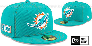 Dolphins ONFIELD SIDELINE ROAD Aqua Fitted Hat by New Era