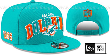 Dolphins ONFIELD STADIUM 100 SNAPBACK Hat by New Era