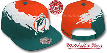 Dolphins 'PAINTBRUSH SNAPBACK' Orange-White-Aqua Hat by Mitchell and Ness