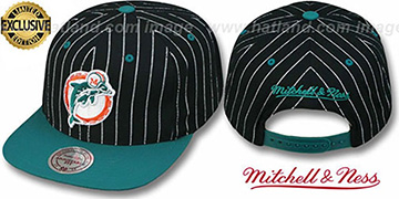 Dolphins 'PINSTRIPE 2T TEAM-BASIC SNAPBACK' Black-Aqua Adjustable Hat by Mitchell & Ness