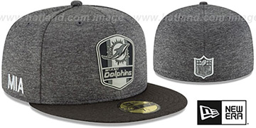 Dolphins ROAD ONFIELD STADIUM Charcoal-Black Fitted Hat by New Era