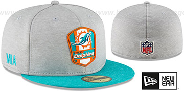 Dolphins ROAD ONFIELD STADIUM Grey-Aqua Fitted Hat by New Era