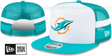 Dolphins SIDE-STRIPED TRUCKER SNAPBACK Hat by New Era