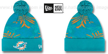 Dolphins 'SNOW-TROPICS' Aqua Knit Beanie Hat by New Era
