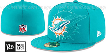 Dolphins STADIUM SHADOW Aqua Fitted Hat by New Era